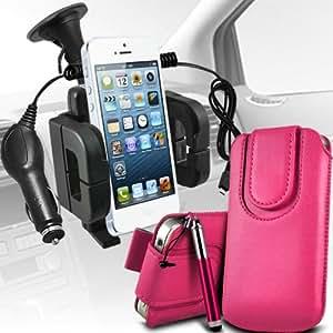 Nokia Lumia 822 premium protección PU botón magnético ficha de extracción Slip espinal en bolsa de la cubierta de piel de bolsillo rápido con lápiz óptico retráctil, Micro 12v cargador de coche USB y soporte universal de la succión del parabrisas del coche Vent cuna rosa fuerte por Spyrox