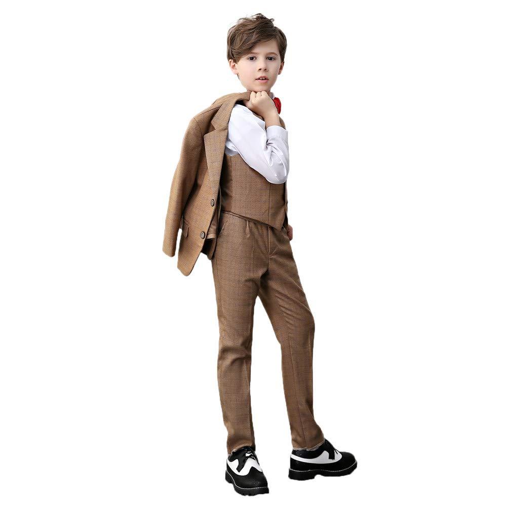 suit women 4Pcs Kids Boys Formal Blazer Vest and Pants Dress Suits Set for Party Khaki Plaid Suit