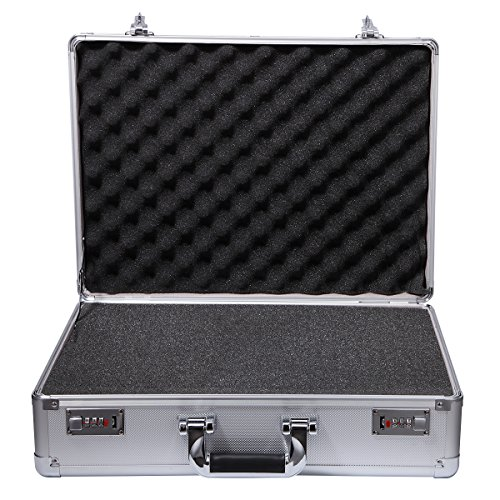 Aluminum Tool Box Silver Equipment Tool Case with Pre-Scored Foam Insert
