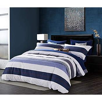 d698ab234a SLUMBERTOWN 100% Cotton Twill Weave 3 Piece Duvet Cover Set -Modern  Luxurious Breathable White Navy Light Blue Striped Duvet Cover Set - Queen