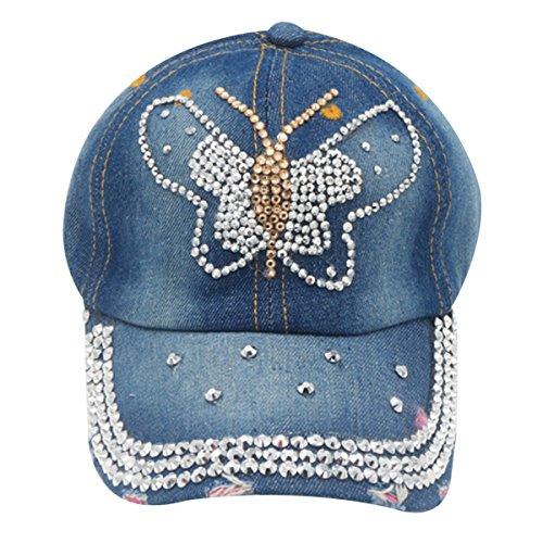 LKXHarleya Women Studded Rhinestone Baseball Caps Butterfly Bling Adjustable Jeans Wash Denim Golf Sun Hat Snapback