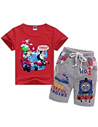 Indepence Life Boys Girls' Toddler 2-Piece Thomas Train Short Set with T-Shirt and Pant for 3-8Years Kids