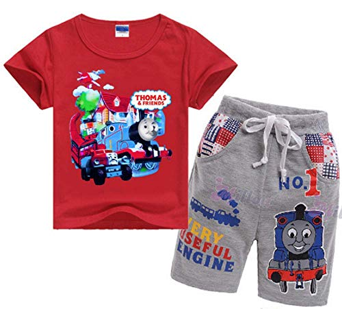 Boys Girls' Toddler 2-Piece Thomas Train Short Set with T-Shirt and Pant for 3-8Years Kids(Red, 6T)