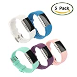 iSUN Sport Adjustable Soft Silicone Fitness Replacement Wristband for Fitbit Charge 2 HR / Fitbit Charge 2 (Wrist Length 5.70-Inch to 8.26-Inch)--White+BlushPink+Purple+Blue+Teal
