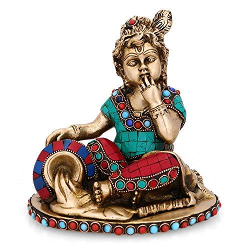 (CraftVatika Hand Carved Baby Krishna Brass Idol Sculpture Butter Thief Krishna)