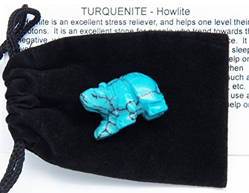 "Fundamental Rockhound Products: (030316_A) 1"" Carved Bear, Turquenite, hand carved gemstone crystal with information card and pouch"