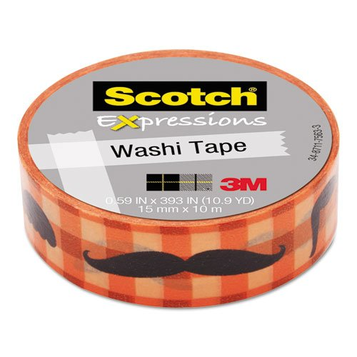 "Scotch Expressions Washi Tape, .59"" x 393"", Moustache"