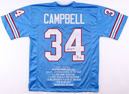 Earl Campbell #34 Signed Houston Oilers Career Highlight for sale  Delivered anywhere in USA