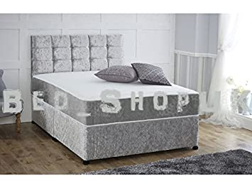 check out 821ca 40660 sleepkings 4ft6 Double Divan Bed – Base in Italian Crushed Velvet Fabric –  Includes Storage 2 Drawers on Left + FREE Headboard (Silver)