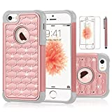 iPhone SE Case,EC™ Studded Rhinestone Crystal Bling Case, Hybrid Armor Dual Layer Diamond Shockproof Protective Cover for Apple iPhone 5/ 5S/SE (Rose Gold+ Grey)