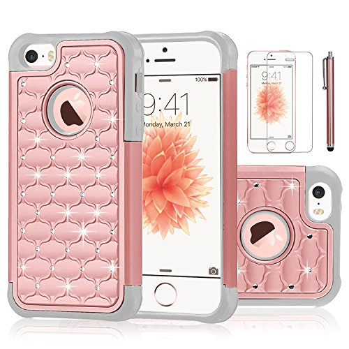 Shockproof Armor Case for Apple iPhone SE/5S/5 (Crystal/Gold) - 9