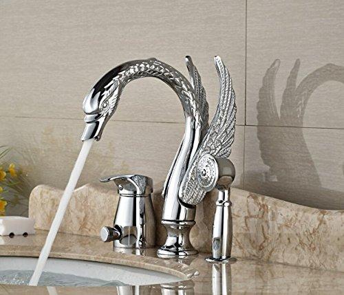 Gowe Modern Chrome Brass Heighten Bathroom Basin Deck Mounted Sink Faucet Waterfall Mixer tap With Hand Shower 3PCS 1