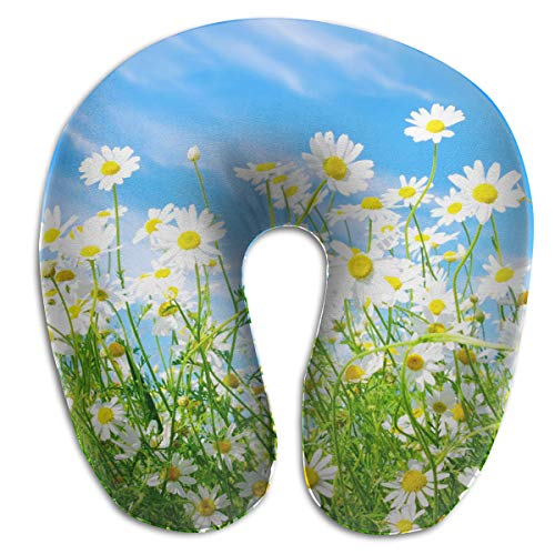 FANTASY SPACE Compact Neck Pillow Spring Daisy Flower Large Travel Pillow Neck Support Sleeping Rest Cushion, Breathable & Comfortable, Car Restful Sleep Bus Neck Pillow