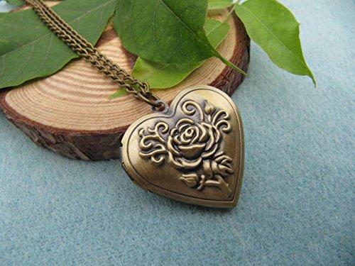 Antique Bronze Rose Heart Locket Necklace, Everyday Necklace, Simple Necklace, Vintage Locket - Heart Locket Necklace Frame