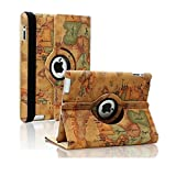SAVEICON (TM) Leopard Rose Flower Map Pattern 360 Degrees Swivel Rotating PU Leather Case Smart Cover with Stand and Sleep/Wake Function for Apple iPad 4 with Retina Display, iPad 3, iPad 2 (iPad 4/iPad 3/iPad 2, Pattern G)