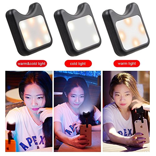 Apexel Clip On Mini Multi-function Selfie Light[Portable Dimmable Clip Lights]Selfie LED Camera Light with 9 Lighting Modes for iPhone Samsung Sony and other Smart Phones and Tabletes,Black by Apexel (Image #3)