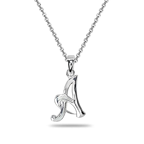 d40acd516 Amazon.com: Sterling Silver A Letter Initial Alphabet Name Personalized 925  Silver Pendant Necklace: Jewelry
