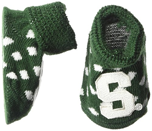 (Two Feet Ahead NCAA Michigan State Spartans Infant Polka Dot Gift Box Booties, New Born, Green/White)