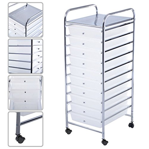 Storage Rolling Cart Paper Office Organizer Clear Color 10 (6 Drawer Quiet Glide Chest)