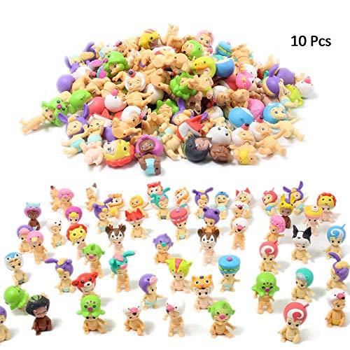 QTFHR Random Cute Miniature Doll, Mini Cute Detachable Doll Toy Cake/ Plant/ Car Decoration (10 Pcs) (Mini Strawberry Shortcake Toys)