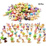 QTFHR Random Cute Miniature Doll, Mini Cute Detachable Doll Toy Cake/ Plant/ Car Decoration (10 Pcs)
