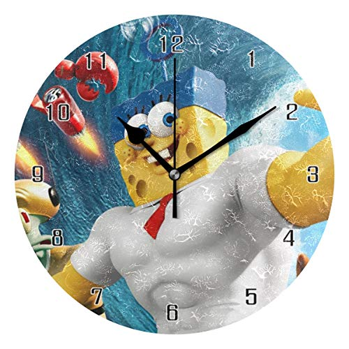 HSGRSSGF Home Decor Clock Wall Clock Muscle Spongebob Round Style,Silent Non -Ticking Wall Clock, Battery Operated Art Decorative for Kitchen,Living Room,Kids Room and Coffee Decor (10 Inch)]()