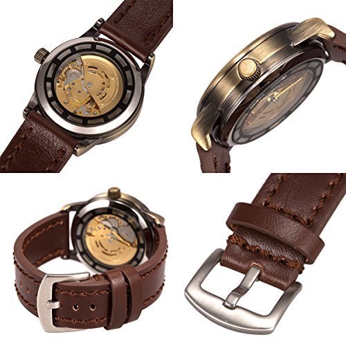 ManChDa Men's Skeleton Automatic Mechanical Steampunk Burlywood Dial Bronze Wrist Watch