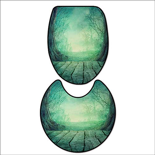 qianhehome Non-Slip Bath Toilet Mat Spooky Scary Dark Fog Forest with Dead Trees and Wooden Table Halloween Horror Print Blue. with High Absorbency 15