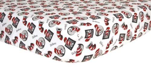 Cat In The Hat Characters - Trend Lab Print Flannel Crib Sheet,