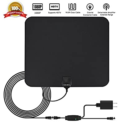 TV Antenna 50 Miles Range with Detachable Amplifier Signal Booster, RAELMILA Portable Indoor Digital HDTV Antenna 16.5FT Coax Cable Support HD 1080P High Reception, Super Thin for 0.02, Black