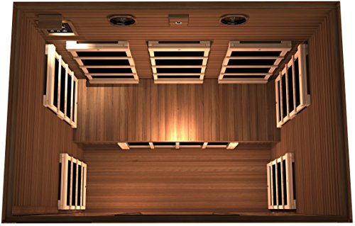 JNH Lifestyles Freedom 3 Person Canadian Western Red Cedar Wood Far Infrared Sauna, 8 Carbon Fiber Heaters, 5 Year Warranty