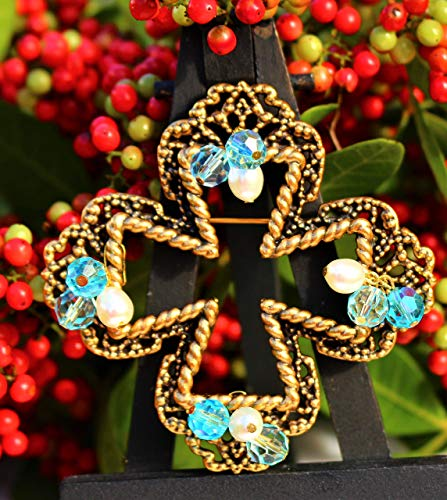 (Maltese cross antiqued gold plated filigree embellished with blue crystal beads and genuine pearl beads BROOCH by Inga Engele 66mm x 66mm made in USA)