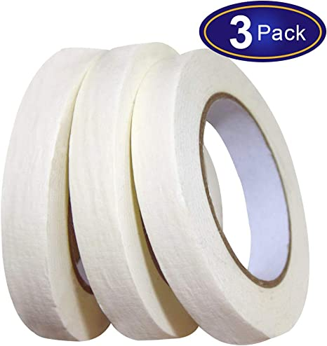 For Painting White Masking Tape  3 Pack Labeling Art etc. 180 Yard In Total Packing Craft General Purpose Beige Painters Tape 0.7inch x 60yard