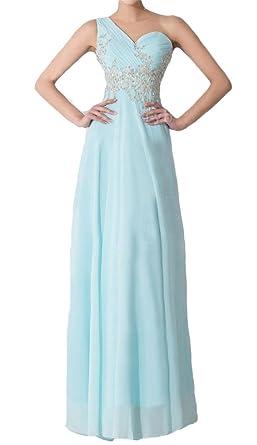 Dydsz Womens One Shoulder Long Evening Party Dresses Plus Size A Line Prom D60 Blue 2