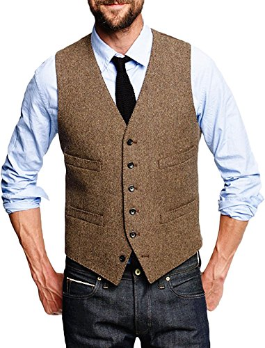 AugusWu Brown Six Button Mens Slim Trim Fit Tuxedos Suits Vest L Brown (Brown Tuxedo)