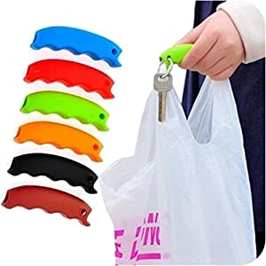 Bag Holder Silicone With Keychain Protect Hands Home Tool Labor Saving Bag Clip (Black)