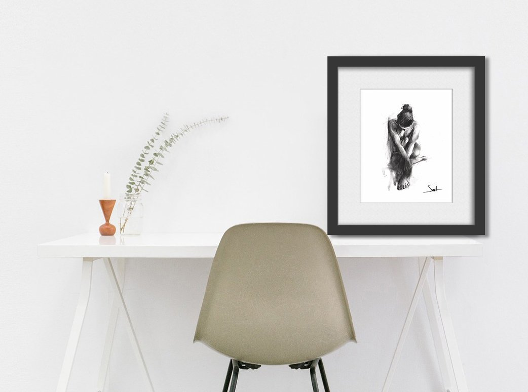 Nude Art Print, Naked Girl, Figurative Art, Figure Drawing, Charcoal Drawing, Erotic Art by SignedSweet