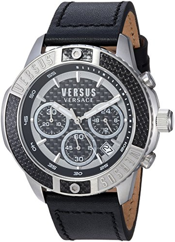Versus by Versace Men's 'ADMIRALTY' Quartz Stainless Steel and Leather Casual Watch, Color Beige (Model: VSP380117)