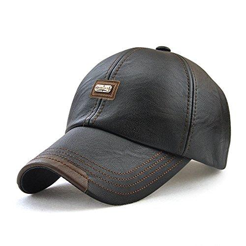 King Star Men Vintage Winter Warm Leather Adjustable Baseball Cap Black (Baseball Hat Leather)