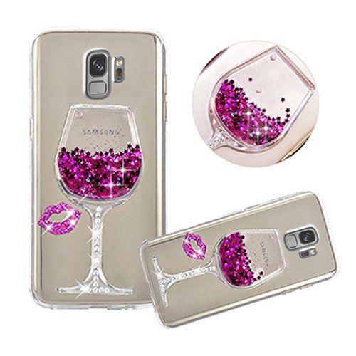 Galaxy S9 Plus Liquid Case,Shinetop 3D Diamond Creative Flowing Quicksand Cover for Samsung Galaxy S9 Plus Bling Glitter Sparkle Floating Stars Soft TPU Silicone Crystal Clear Protective Case-Hot Pink