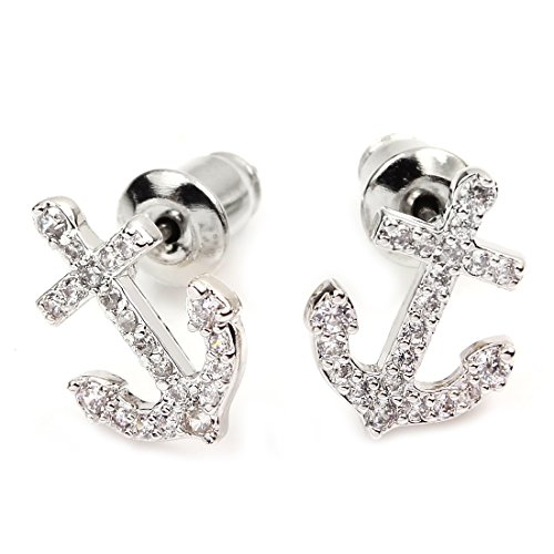 FC JORY Silver White Gold GP Crystal CZ Cubic Zirconia Anchor Women girls Earrings Studs