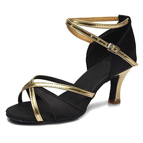 chaussures En 4 filles Latine chaussures 7cm de couleur gros femmes chaude tango vente de femmes Black pour Salsa danse YFF Chaussures bal de danse Fx6qd6