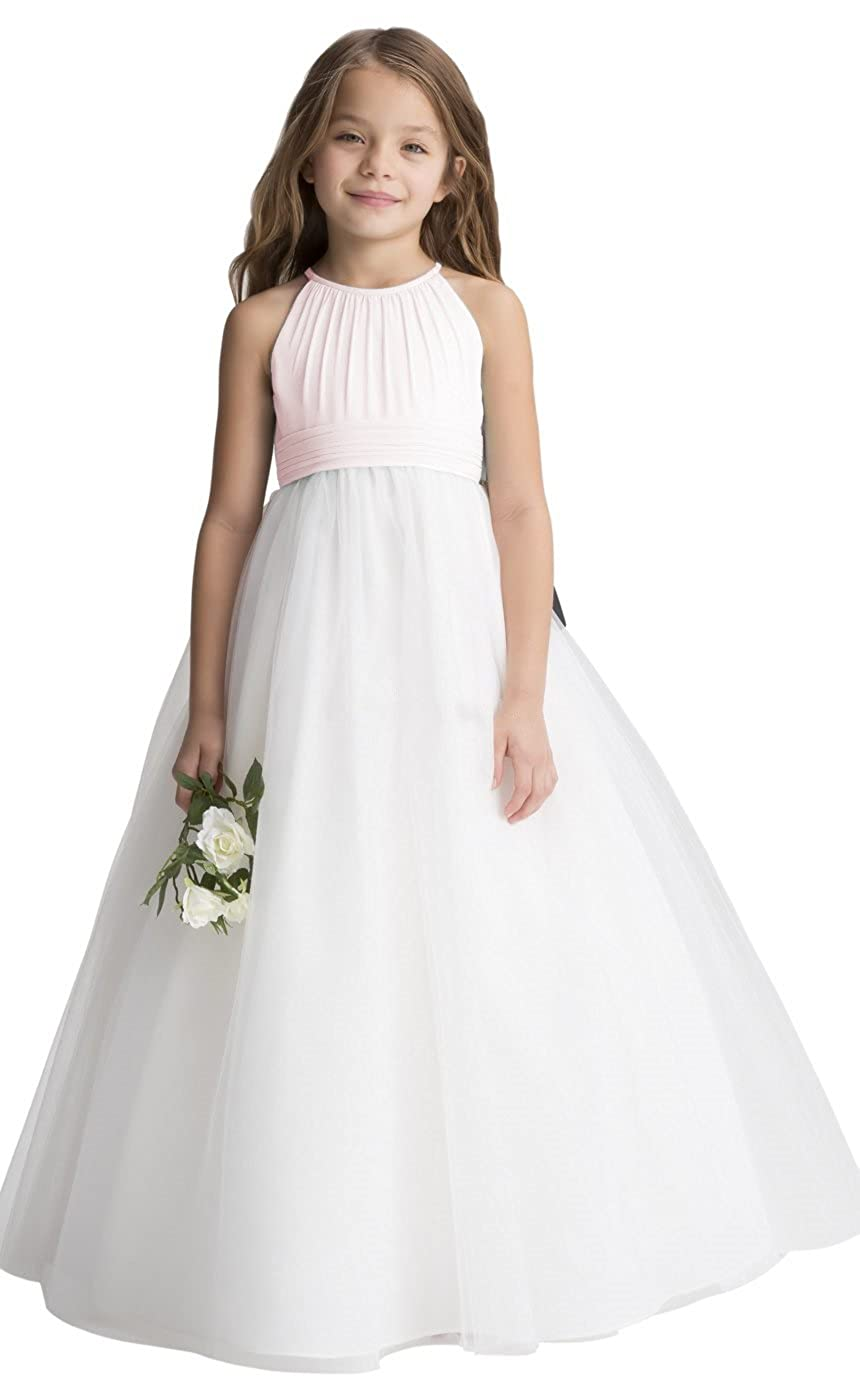Chiffon Tulle Flower Girl Dress Junior Wedding Bridesmaid Dresses Flower Girl A-line fairy Girl