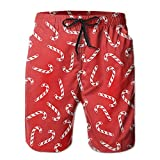 Men's Candy Cane Quick Dry Swim Trunks