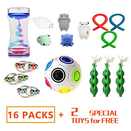 LINKCITY CREATIVE Special Funny 16 Pack Bundle Sensory Toys Set-Fidget Bike Chain/Liquid Motion Timer/Squeeze-A-Bean and Squeeze Toys Value Assortment-Stress Relax Toys for ADD/ADHD Child Adults