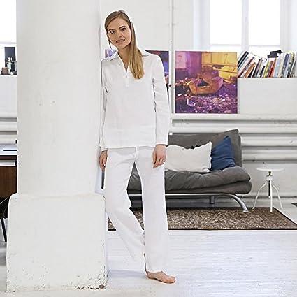 Pijama de lino en color blanco modelo Alma