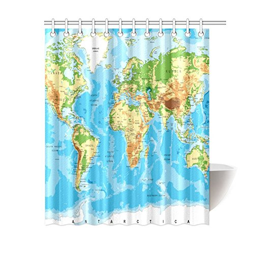 Interestprint world map shower curtain for kid physical map of interestprint world map shower curtain for kid physical map of the world home designer bath gumiabroncs Image collections