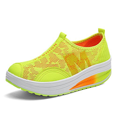 Out Toning Work Yellow Mesh Fitness on Crochet Sneaker Slip Women's Shoes Platform Luxury vTwqB4xn
