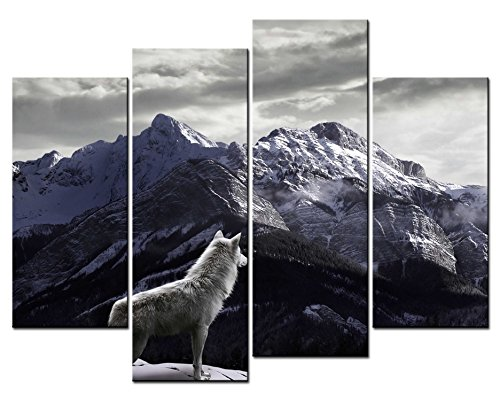 SmartWallArt - Animal Paintings Wall Art a White Wolf Looking at the Distant in Mountains 4 Panel Picture Print on Canvas for Modern Home Decoration