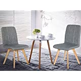 【Lowest Price FIRE SALE】Merax Luxurious Fabric Dinning Chair, Accent Side Chair with Sturdy Wooden Legs , Dark Brown,Set of 2